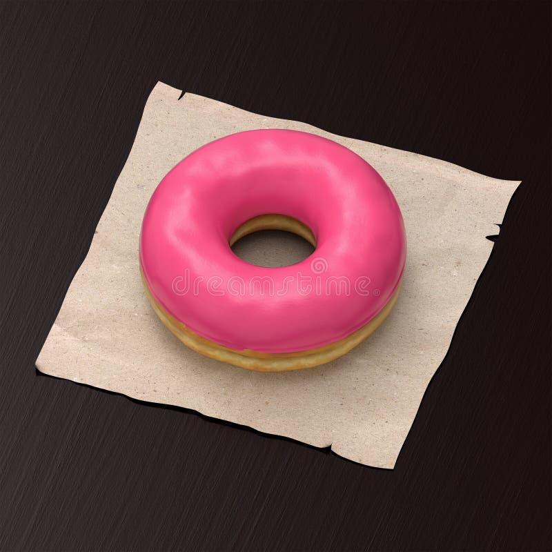 Ciambella con la verniciatura rosa immagine stock libera da diritti