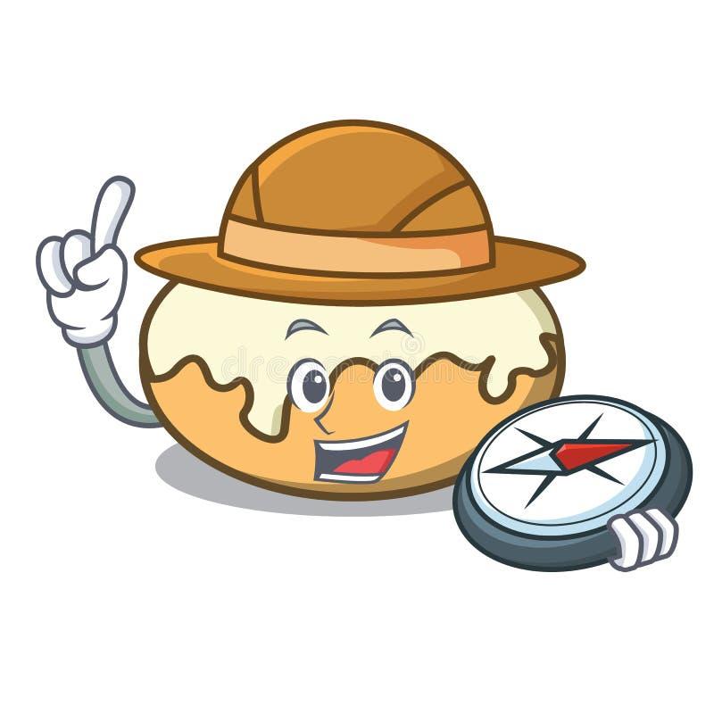 Ciambella dell'esploratore con il fumetto della mascotte dello zucchero illustrazione vettoriale