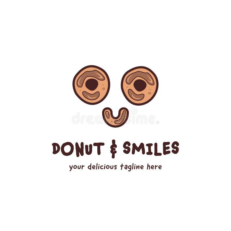 Ciambella della ciambella e logo felice di sorrisi nello stile di divertimento del gioco del fumetto illustrazione vettoriale