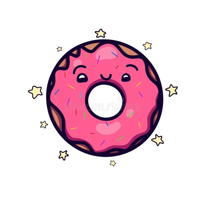 Ciambella di kawai e sveglia di rosa con guarnizione e piccole stelle Oggetto separato dai precedenti royalty illustrazione gratis