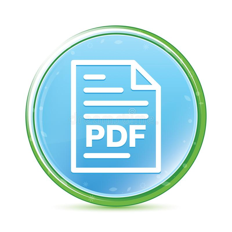 Ciano bottone rotondo blu del documento della pagina dell'acqua naturale PDF dell'icona illustrazione vettoriale