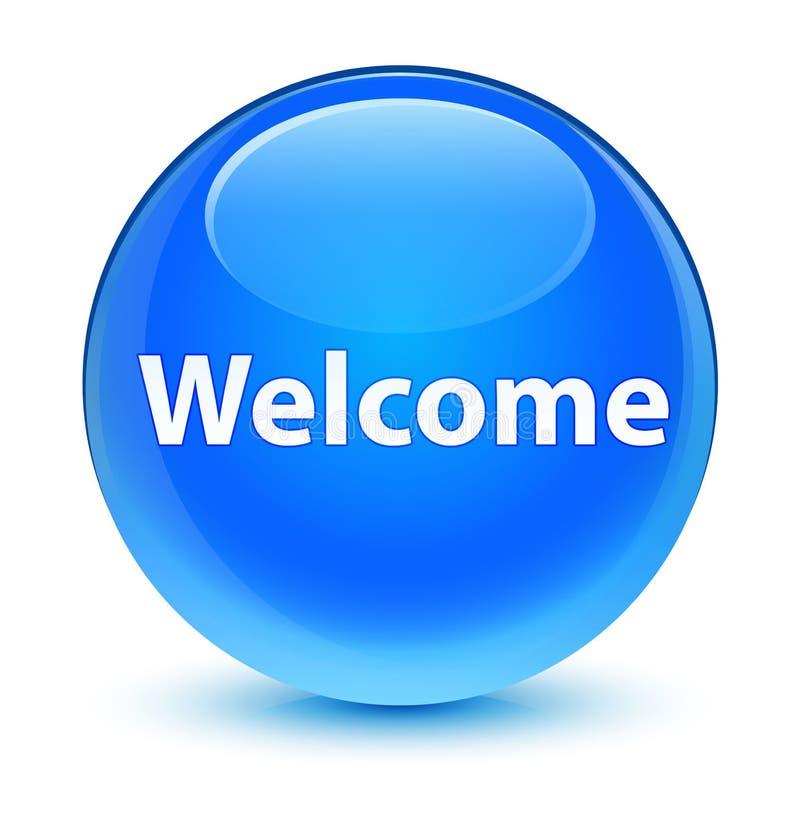 Ciano bottone rotondo blu vetroso benvenuto illustrazione vettoriale