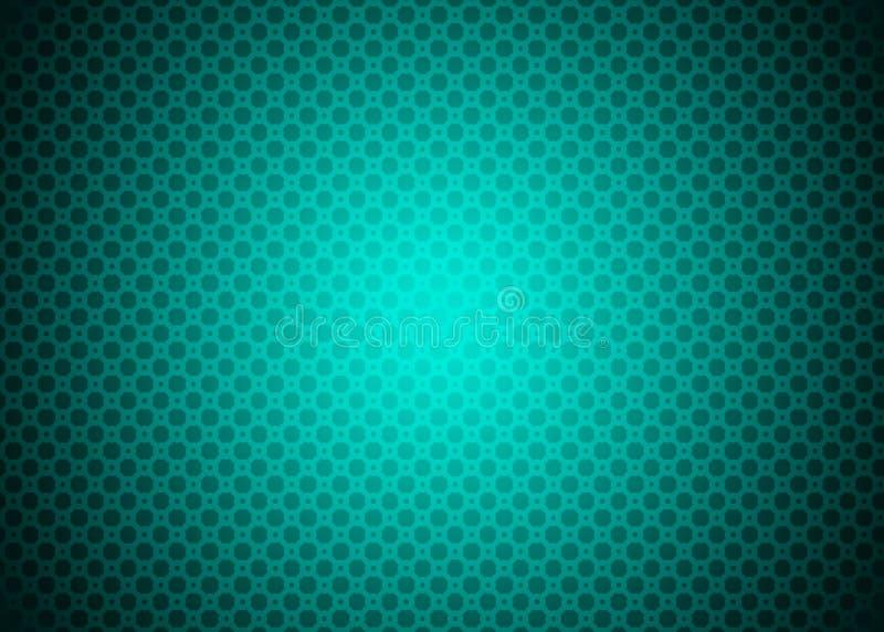 Ciano carta da parati ornamentale techna verde blu al neon scura del fondo del modello illustrazione vettoriale