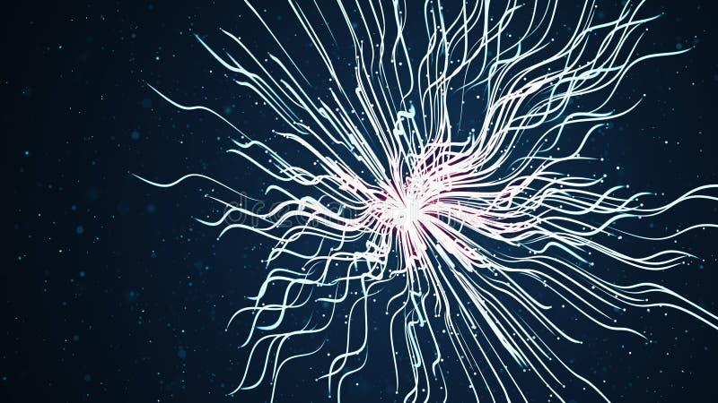 Ciano dell'estratto e tracce blu futuristiche di esplosione della particella Ha alfa canale illustrazione di stock