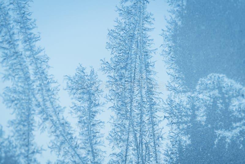 Ciano finestra blu gelida con i modelli del fiocco di neve immagine stock libera da diritti