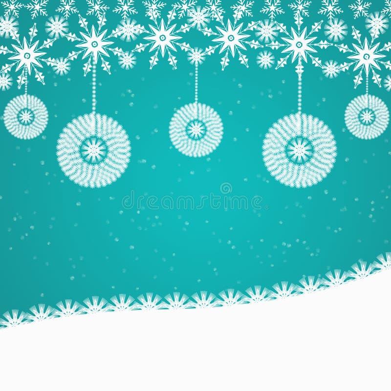 Ciano fondo astratto blu di Natale con gli ornamenti royalty illustrazione gratis