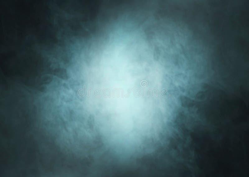Ciano fondo profondo del fumo con luce nel centro fotografia stock libera da diritti