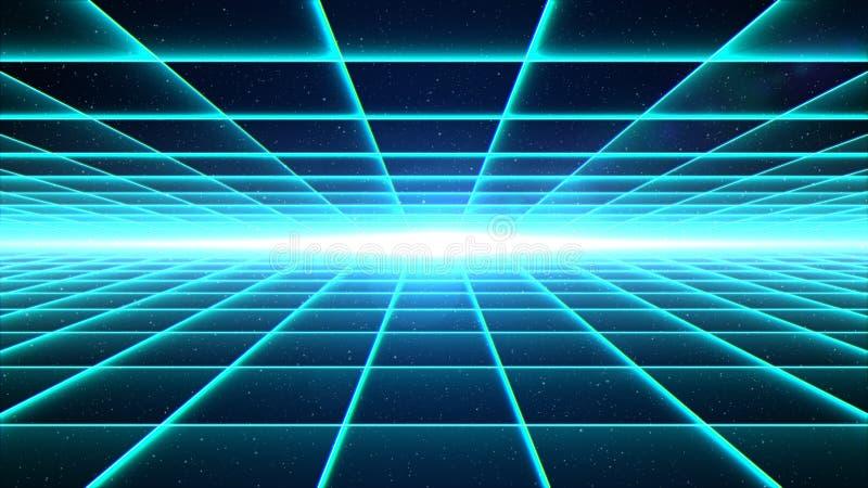 Ciano tunnel orizzontale di griglia con luce illustrazione vettoriale