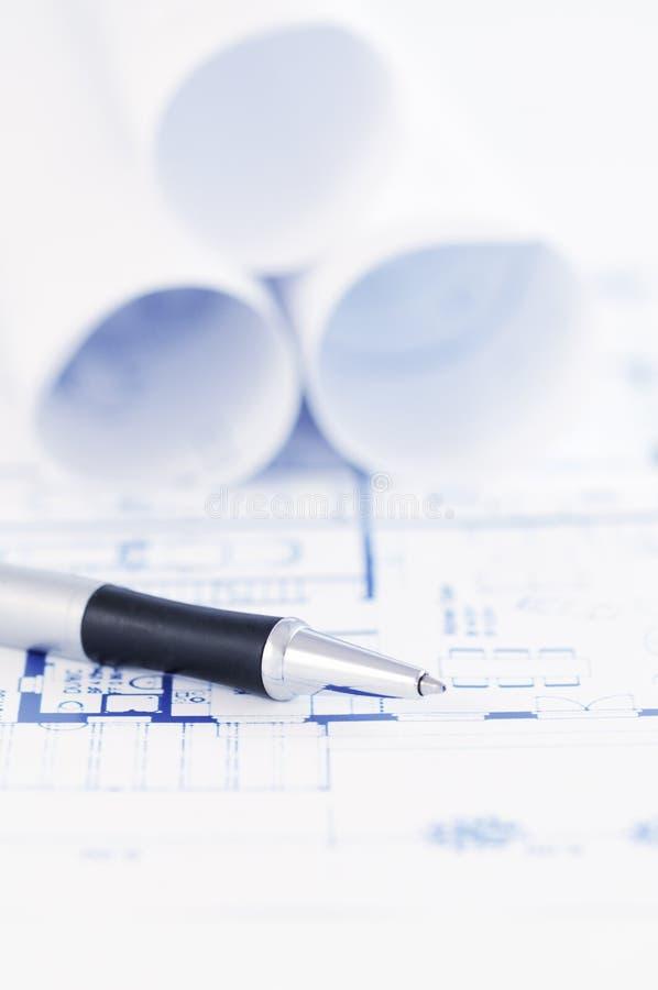 Cianografia architettonica con la penna fotografie stock
