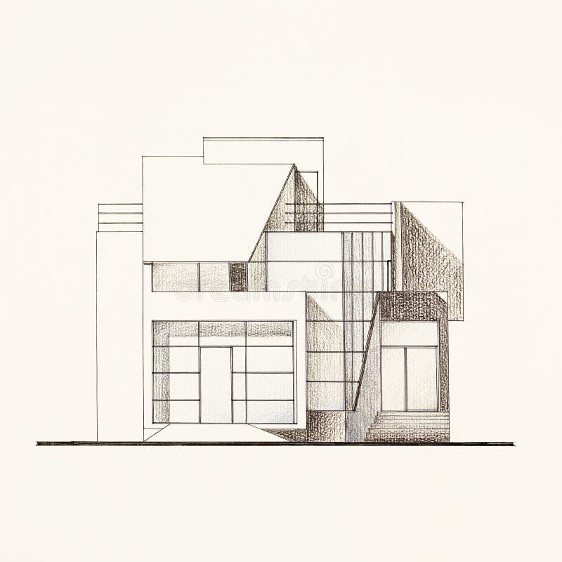 Cianografia architettonica della facciata di una casa for Architettura moderna della casa