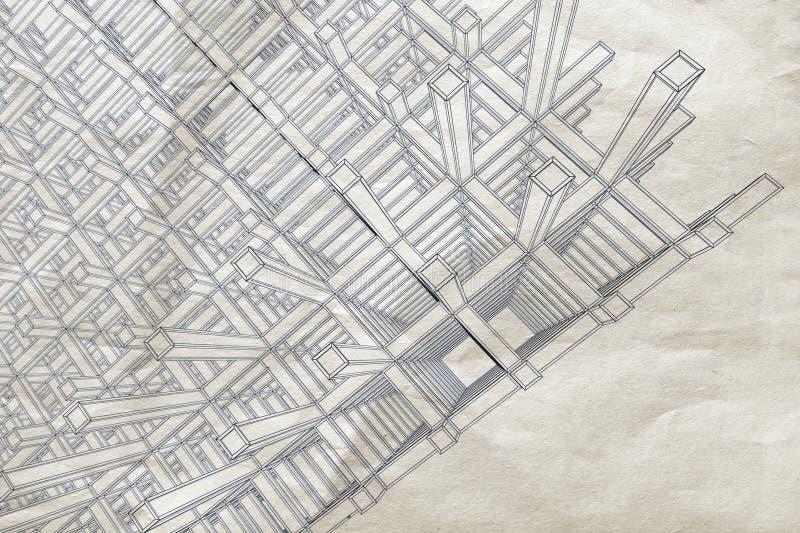 Cianografia con la prospettiva astratta su vecchio documento illustrazione di stock