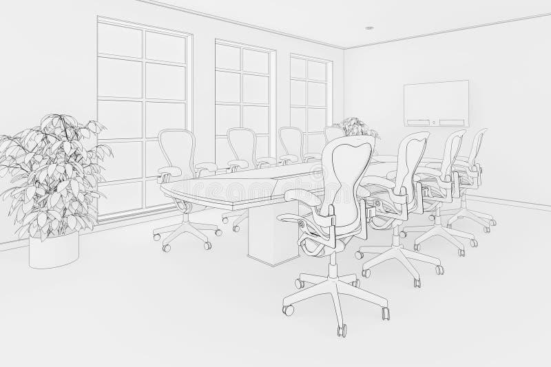 Cianografia dell'ufficio royalty illustrazione gratis