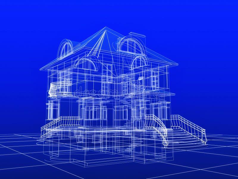 cianografia della casa 3D illustrazione vettoriale