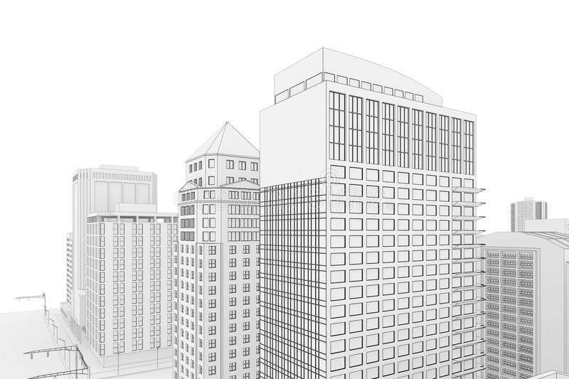 Cianografia della città illustrazione vettoriale