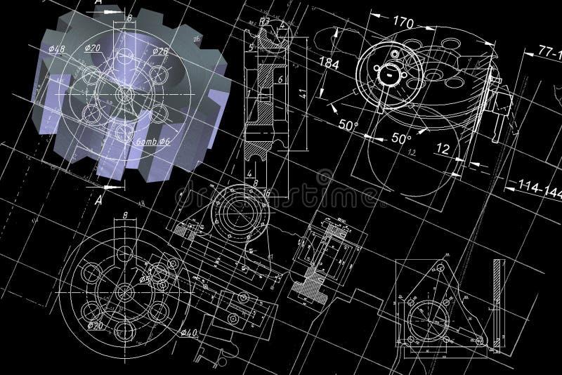 Cianografia di ingegneria illustrazione di stock