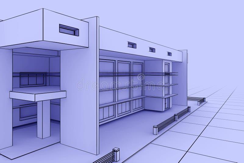 Cianografia moderna della casa illustrazione vettoriale