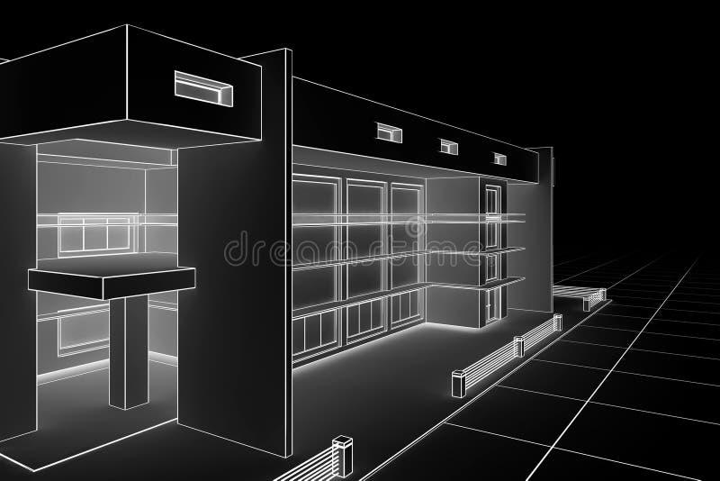 Cianografia moderna della casa illustrazione di stock