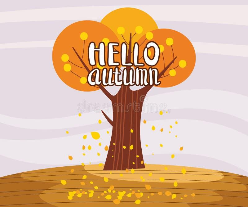 Ciao albero solo del paesaggio di autunno nell'orizzonte piano di panorama del fumetto di stile di tendenza Cartolina dell'insegn royalty illustrazione gratis