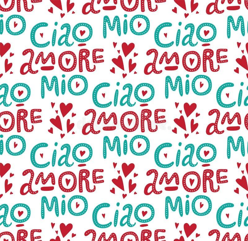 Ciao amore mio bezszwowy wzór royalty ilustracja