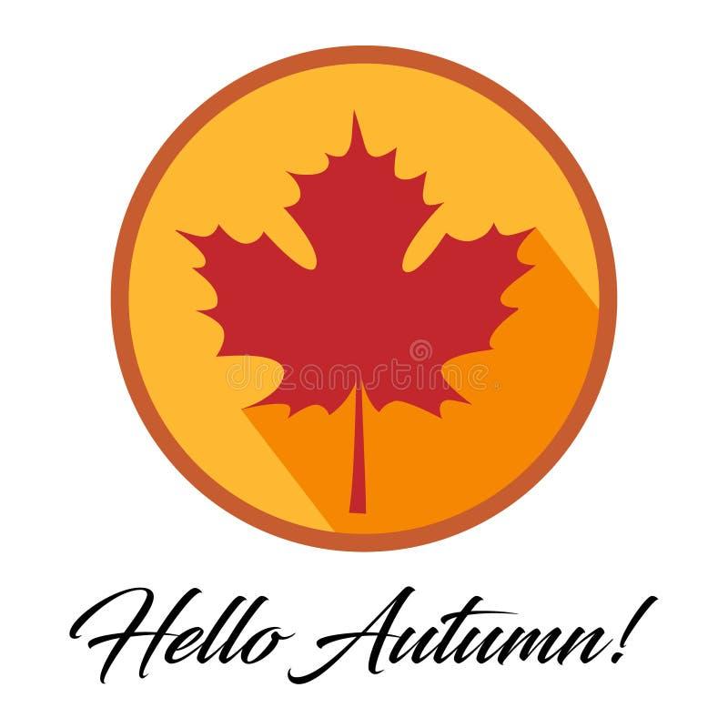 Ciao Autumn Card con le foglie di acero illustrazione di stock