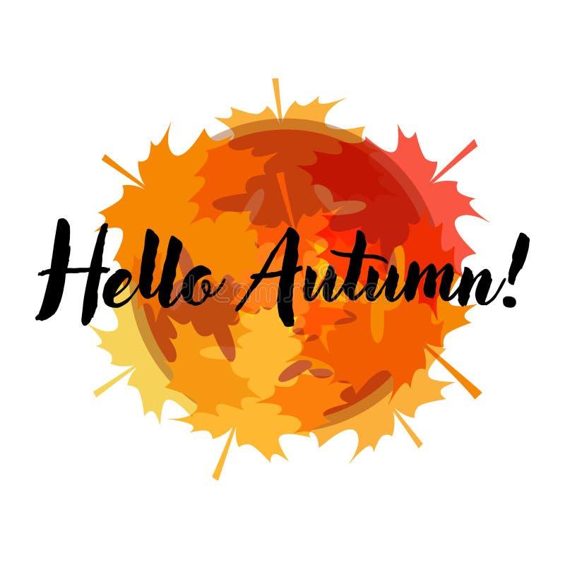 Ciao Autumn Card con le foglie di acero illustrazione vettoriale