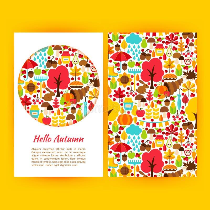 Ciao Autumn Flyer Template illustrazione vettoriale
