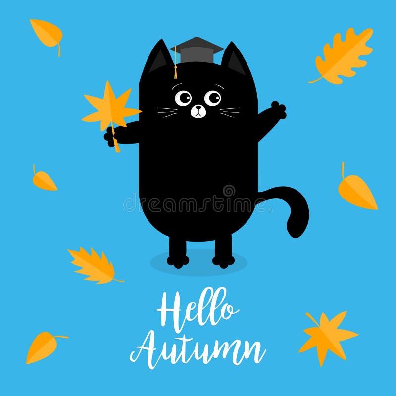 Ciao autunno Cappello di graduazione del gatto nero accademico illustrazione di stock