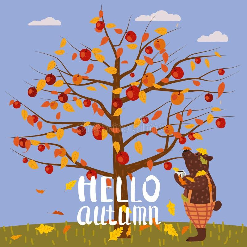 Ciao autunno che segna con lettere di melo L'orso sveglio ha coperto le foglie di autunno cadute di caffè della tazza, caduta del illustrazione vettoriale