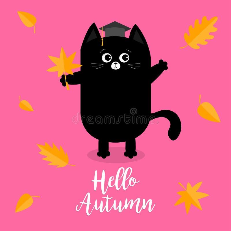 Ciao autunno Foglia accademica di caduta di rosso arancio del cappuccio del cappello di graduazione del gatto nero Emozione sorpr illustrazione di stock