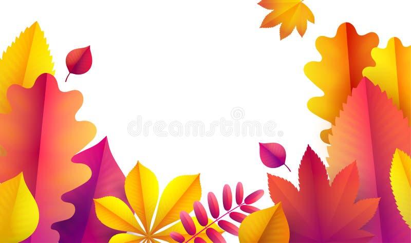 Ciao autunno, modello dell'aletta di filatoio di vendita per il vostro testo Fondo di vettore delle foglie di autunno promozione royalty illustrazione gratis