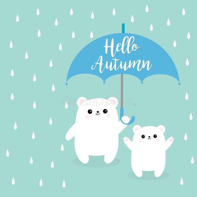 Ciao autunno Piccolo piccolo ombrello bianco polare della tenuta del cucciolo di orso due Piova le gocce Carattere sveglio del ba illustrazione di stock