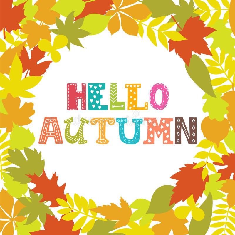 Ciao autunno Struttura rotonda delle foglie di autunno Priorità bassa della natura illustrazione di stock