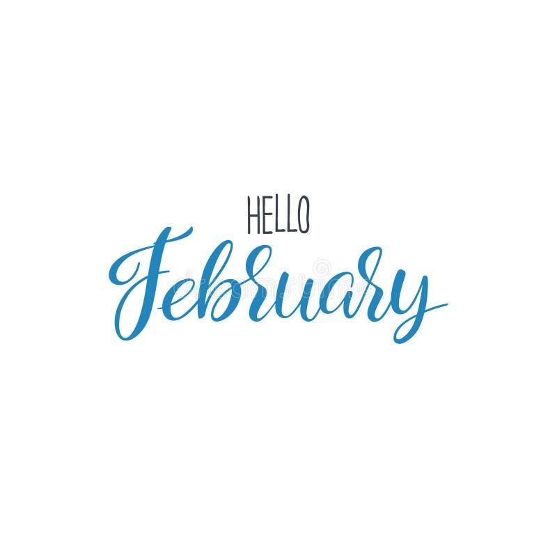 Ciao calligrafia di febbraio royalty illustrazione gratis