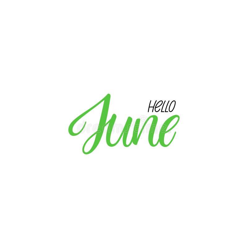 Ciao calligrafia di giugno illustrazione vettoriale