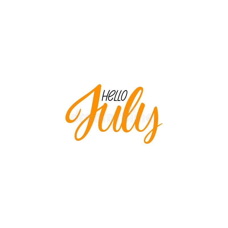 Ciao calligrafia di luglio royalty illustrazione gratis