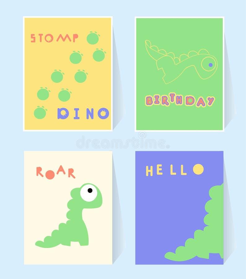 Ciao carta della stampa di Dino per la festa di compleanno di invation I dinosauri battono i piedi, ruggono Manifesto nello stile illustrazione di stock