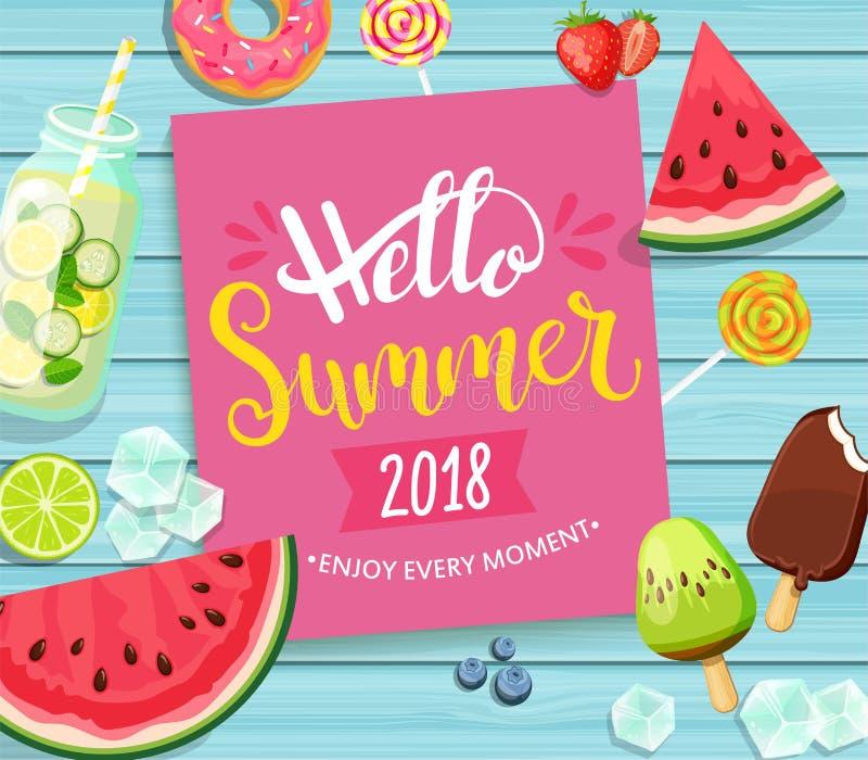 Ciao carta di estate 2018 su fondo di legno blu royalty illustrazione gratis