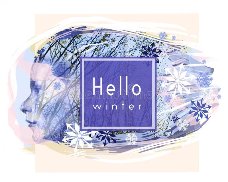 Ciao carta di inverno Profilo di bello fronte della donna contro gli alberi ed i fiocchi di neve L'inverno sta venendo illustrazione di stock