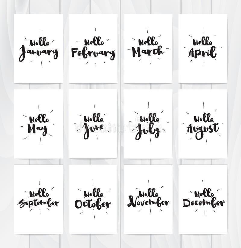 Ciao carte di mese 12 Progettazione disegnata a mano, calligrafia Sovrapposizione della foto di vettore Il nero su fondo bianco U illustrazione vettoriale