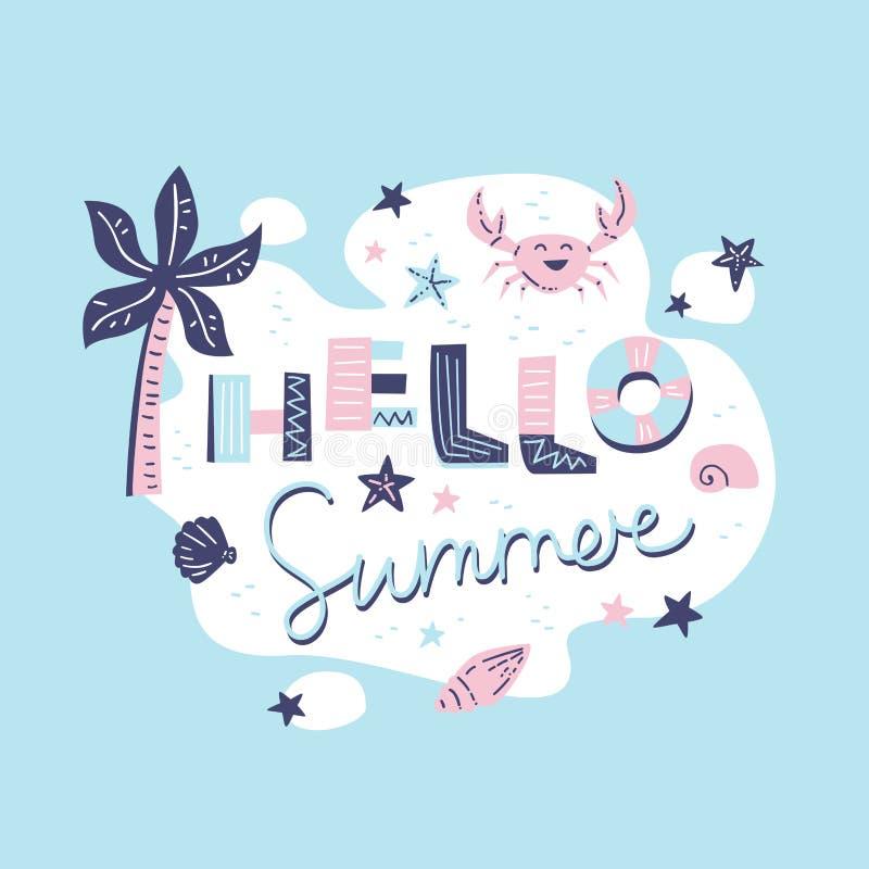 Ciao estate Composizione nell'iscrizione illustrazione di stock