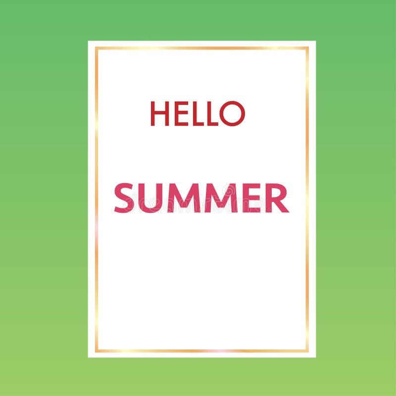 ciao estate con il fondo colourful della struttura dorata illustrazione di stock