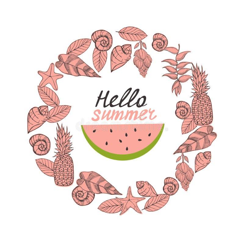 Ciao estate! Illustrazione di vettore con l'anguria royalty illustrazione gratis