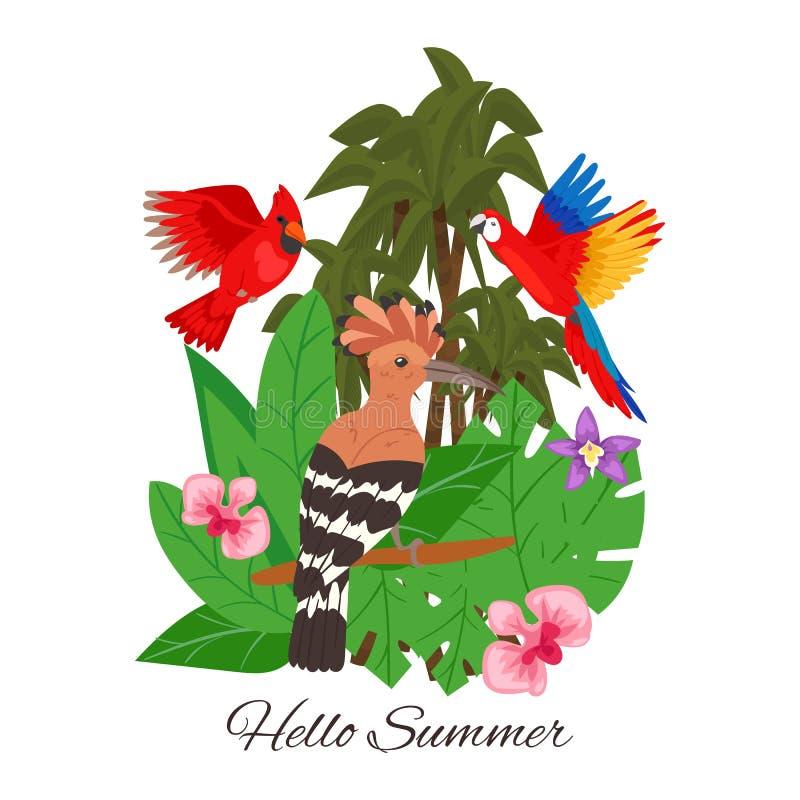 Ciao estate, illustrazione di vettore dell'insegna di progettazione della giungla Foglie tropicali della palma con i fiori Le Haw illustrazione vettoriale