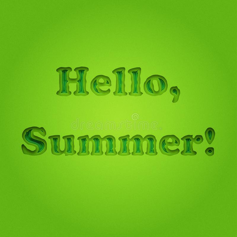 Ciao estate, iscrizione tipografica su fondo verde monocromatico d'annata Manifesto di estate, fondo, insegna Ragazzo e ragazze c illustrazione di stock