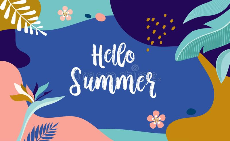 Ciao estate, progettazione dell'insegna di vettore con il fenicottero e foglie tropicali illustrazione di stock