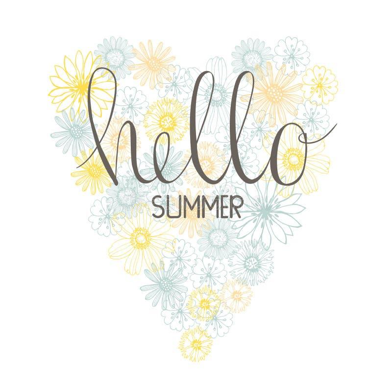 Ciao, estate! Stampa con cuore floreale Illustrazione di vettore illustrazione di stock