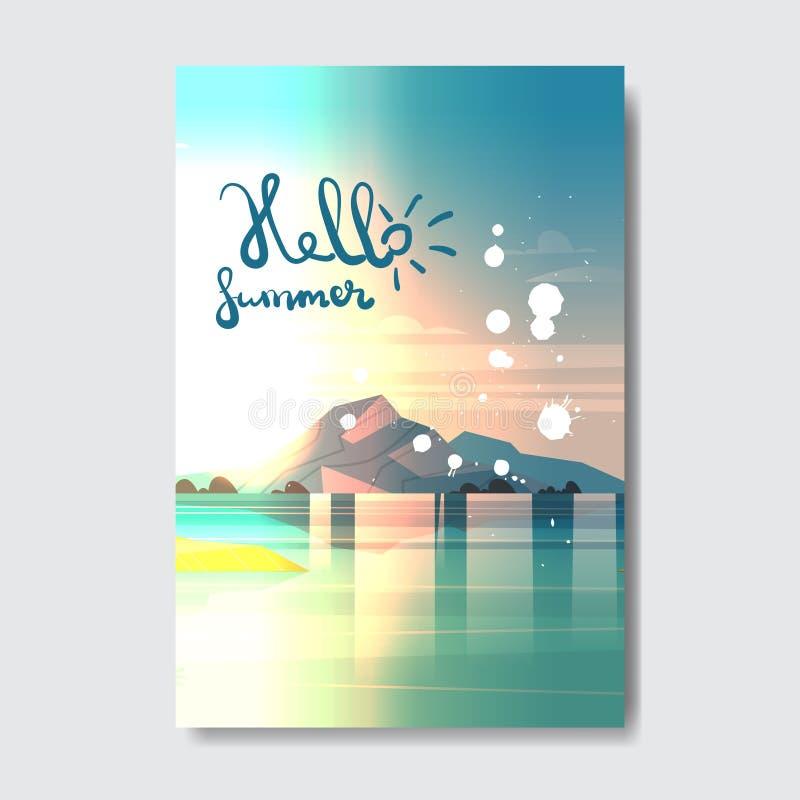Ciao etichetta di progettazione del distintivo del paesaggio della montagna della spiaggia di estate Condisca le feste che segnan illustrazione vettoriale