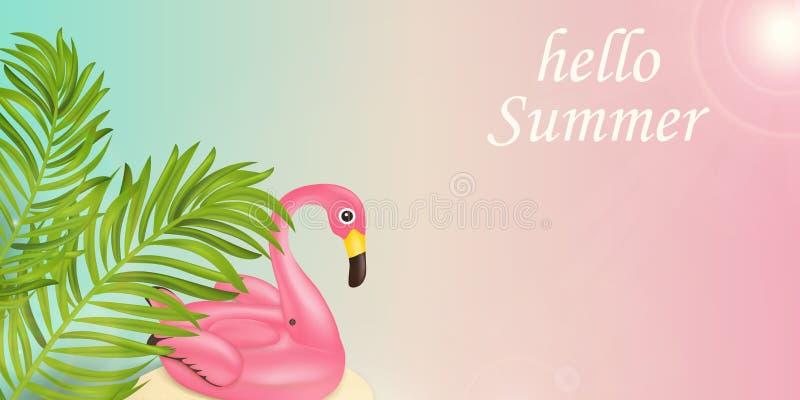 Ciao festa di ora legale tipografica Concetto di progetto dell'insegna di vettore di estate con gli elementi della spiaggia, gall royalty illustrazione gratis