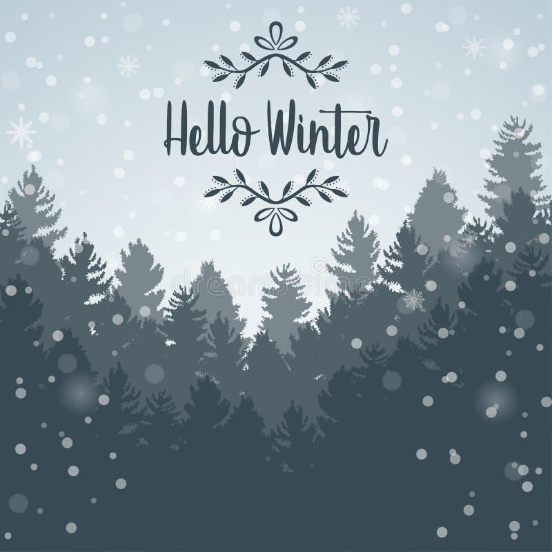 Ciao fondo del paesaggio della foresta di inverno e del pino dell'albero illustrazione vettoriale