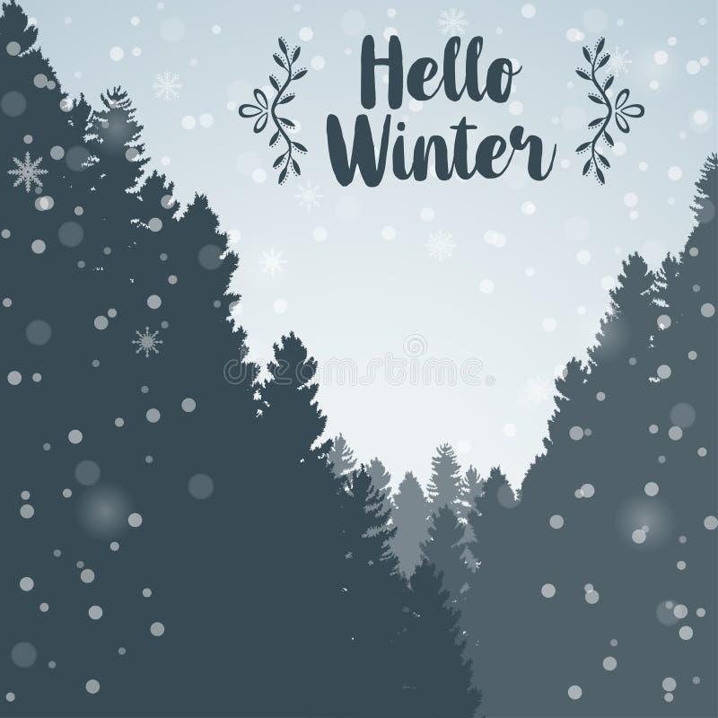 Ciao fondo del paesaggio della foresta di inverno e del pino dell'albero royalty illustrazione gratis